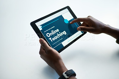 Buy stock photo Cropped shot of a man using a digital tablet to have an online lesson