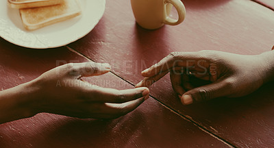 Buy stock photo Cropped shot of an unrecognisable couple reaching out for each other