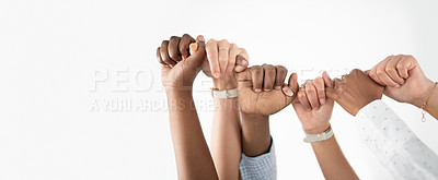 Buy stock photo Closeup shot of a group of unrecognisable businesspeople linking their hands together