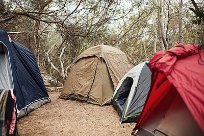 Buy stock photo Shot of tents at a campsite out in nature