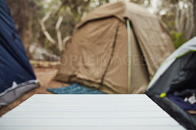 Buy stock photo Shot of an empty table at a campsite out in nature
