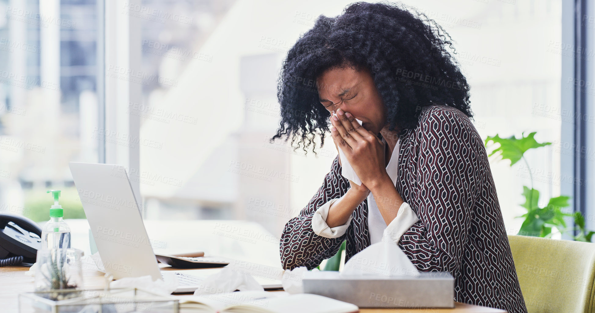 Buy stock photo Shot of a businesswoman feeling sick while working at her desk