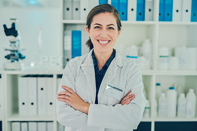 Buy stock photo Portrait of a confident scientist working in a modern laboratory