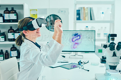 Buy stock photo Shot of a scientist using a virtual reality headset while conducting research in a laboratory