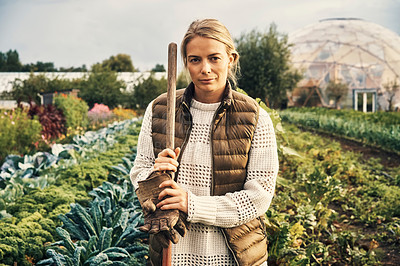 Buy stock photo Portrait of a young woman working on a farm