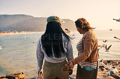 Buy stock photo Shot of a mature woman and her adult daughter spending time together at the beach