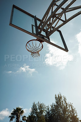 Buy stock photo Closeup shot of a basketball hoop on a sports court