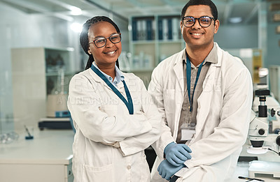 Buy stock photo Portrait of two scientists in a lab