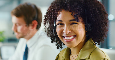 Buy stock photo Shot of a confident young woman using a headset in a modern office