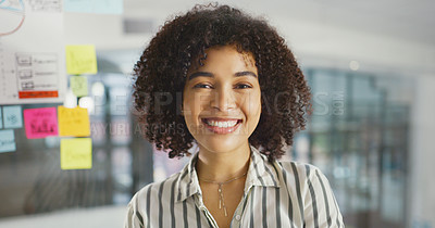 Buy stock photo Shot of a young businesswoman having a brainstorming session in a modern office