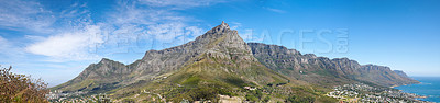 Buy stock photo Table Mountain and the twelve apostles - Cape Town, Western Cape