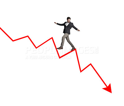 Buy stock photo Shot of a businessman balancing on an arrow pointing down against a white background