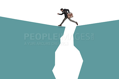 Buy stock photo Shot of a businessman carrying a bag and crossing a mountain against a white background