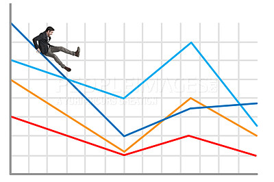 Buy stock photo Shot of a businessman falling off a graph against a white background