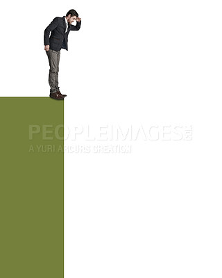 Buy stock photo Shot of a businessman about to jump from the edge of a cliff against a white background