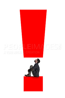 Buy stock photo Shot of an unrecognisable businessman stuck in between an exclamation mark against a white background