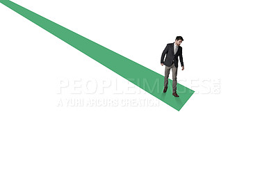 Buy stock photo Shot of a businessman about to jump from the edge of a graph against a white background