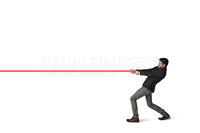 Buy stock photo Shot of a businessman pulling on a string against a white background