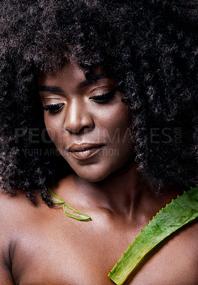 Buy stock photo Shot of a beautiful young woman posing with an aloe vera plant against her skin