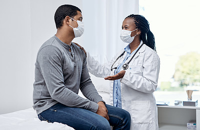 Buy stock photo Shot of a doctor having a consultation with a patient