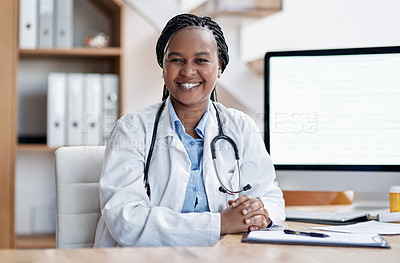 Buy stock photo Portrait of a young doctor working in her office
