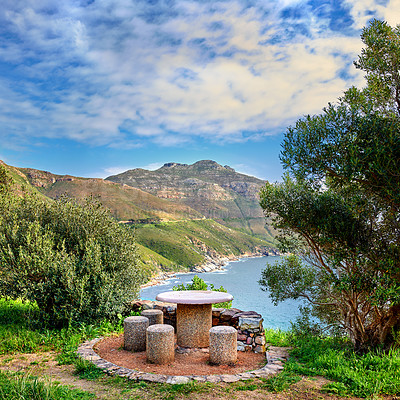 Buy stock photo A photo a picnic area near Shapmanns Peak Road, Cape Town, South Africa