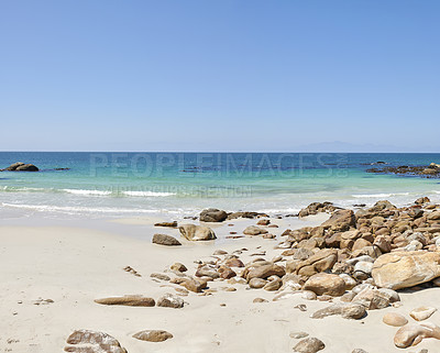 Buy stock photo Rocky coast close to Simon's Town, Indian Ocean, Western Cape, South Africa.