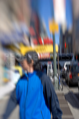 Buy stock photo Lens blurred photo: Everyday street life in New York - Manhattan