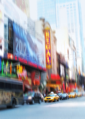 Buy stock photo A motion blurred image of people  a Manhattan evening