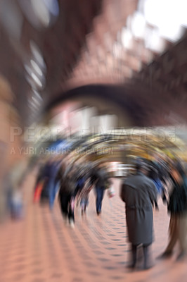 Buy stock photo A lens and motion blurred photo of travelling  people