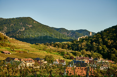 Buy stock photo Shot of a quaint countryside town in Austria