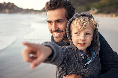 Buy stock photo Shot of a man spending quality time with his son at the beach