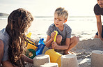 Building sandcastles is their favourite thing to do on the beach