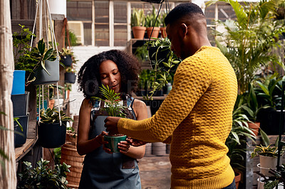 Buy stock photo Shot of a young woman selling plants to a customer in a garden centre