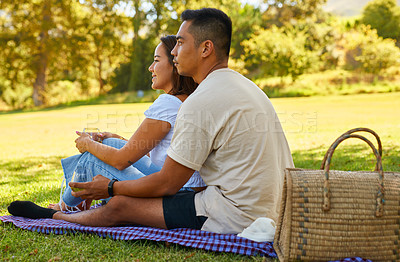 Buy stock photo Shot of a young couple on a picnic at the park on a sunny day
