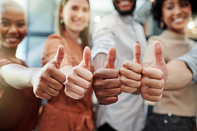 Buy stock photo Closeup shot of a group of businesspeople showing thumbs up
