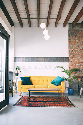 Buy stock photo Shot of a sofa in an empty cafe