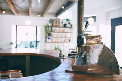 Buy stock photo Shot of a vintage cash register on a counter in an empty cafe