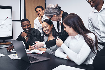Buy stock photo Shot of a mature businesswoman giving a presentation to her staff