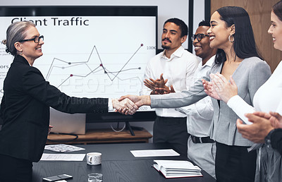 Buy stock photo Shot of coworkers applauding during a business meeting