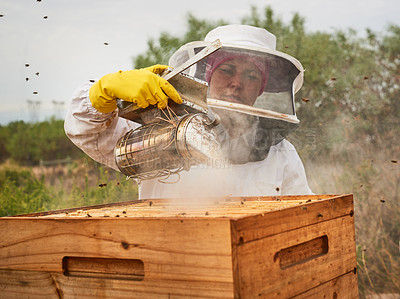 Buy stock photo Shot of a beekeeper using a bee smoker while working on a farm