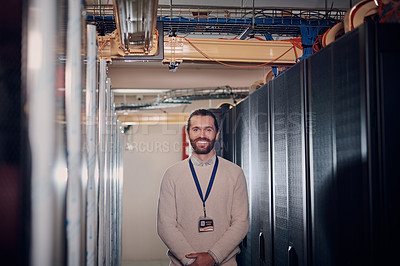 Buy stock photo Portrait of an attractive man working in a server room