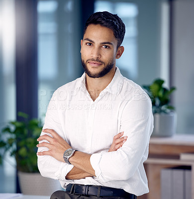 Buy stock photo Shot of a young businessman at work