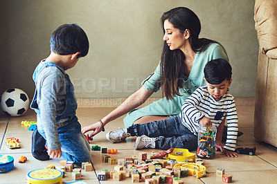 Buy stock photo Shot of adorable young boys at home