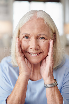 Buy stock photo Portrait of a senior woman at home