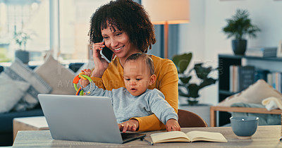 Buy stock photo Shot of a young woman using a laptop and smartphone while caring for her adorable baby girl at home