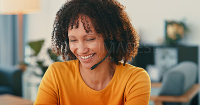 Buy stock photo Shot of a young woman using a headset at home