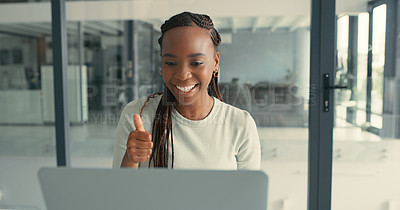 Buy stock photo Shot of a beautiful young woman on a video call using her laptop in a modern office