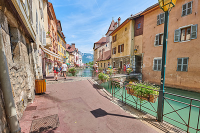Buy stock photo Annecy, France, July, 17, 2019: Houses and street life in the famous medieval part of the city of Annecy, Department of Upper Savoy, France.Annecy, France, July, 17, 2019: Houses and street life in the famous medieval part of the city of Annecy, Department of Upper Savoy, France.Editorial: Annecy, France, July, 17, 2019: Houses and street life in the famous medieval part of the city of Annecy, Department of Upper Savoy, France.