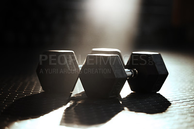 Buy stock photo Shot of dumbbells ready to be used